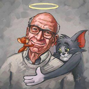Potret lukisan Gene Deitch bersama tokoh animasi buatannya, Tom dan Jerry (Sumber: Instagram-@upperslife)