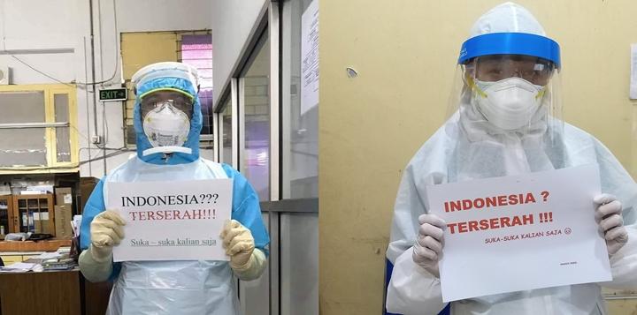 Tenaga medis mengampanyekan kata Indonesia Terserah di media sosial (Foto: Twitter)