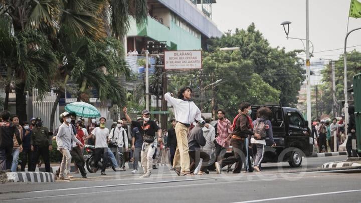 Demo siswa STM dalam aksi unjuk rasa buruh tolak Omnibus Law UU Cipta Kerja (Dok. Istimewa)