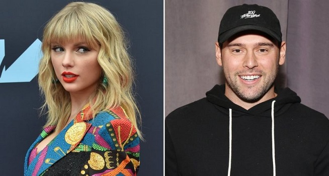 Taylor Swift dan Scooter Braun (Foto: BBC/Getty Images)