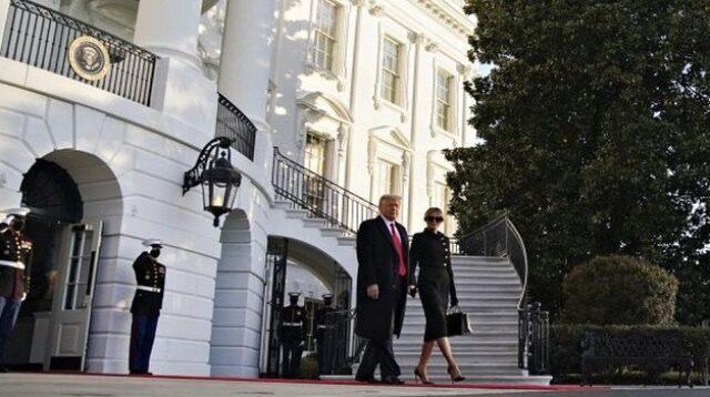 Donald dan Melania Trump menuju helikopter Marine One di South Lawn Gedung Putih (Foto: BBC/EPA)