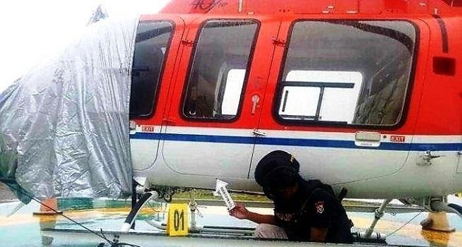 Helikopter milik PT Sayap Garuda Indah ditembak orang tak dikenal (Dok. Istimewa/TribrataNews)