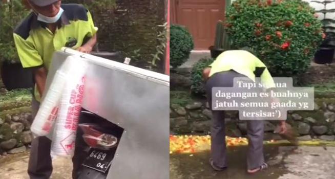 Screenshot rekaman video seorang penjual es buah keliling dagangannya tumpah di jalan sebelum dijajakan (Dok. Instagram @undercover.id)
