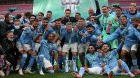 Manchester City sukses memboyong Piala Liga untuk kali keempat usai mengandaskan perlawanan Tottenham Hotspur dalam laga final di Stadion Wembley, Minggu (25/04/2021) malam. Manchester City menang tipis dengan skor 1-0. (Foto: BBC/Getty Images)