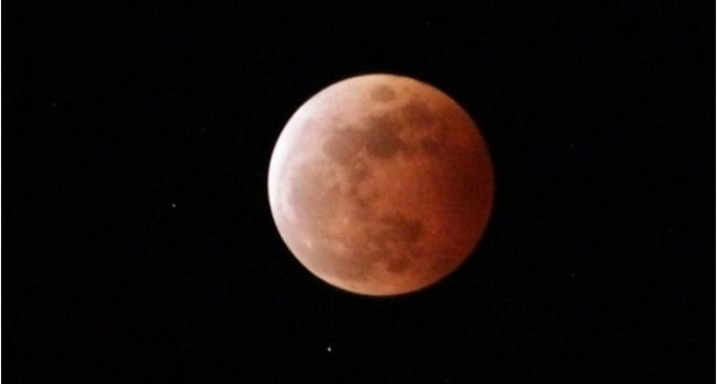 Gerhana bulan total berwarna merah alias super blood moon (Dok. Istimewa/bmkg.go.id)