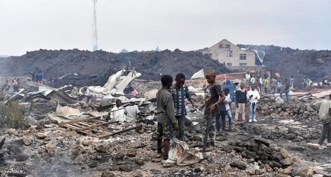 Rumah warga hancur terdampak erupsi Gunung Nyiragongo Kongo (Foto: BBC/Reuters)