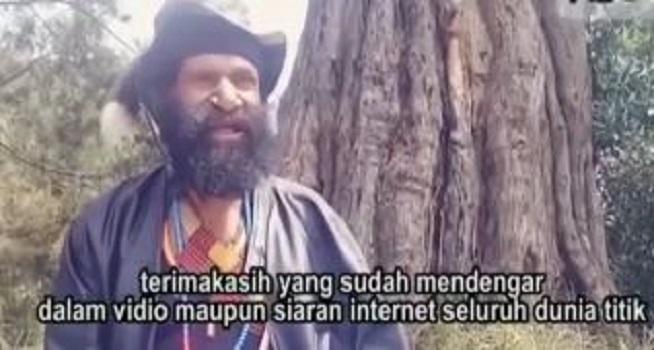 Screenshot rekaman video pria yang mengaku jenderal Organisasi Papua Merdeka (OPM) menyatakan diri kembali ke pangkuan NKRI (Dok. Instagram @indonesian_military45)