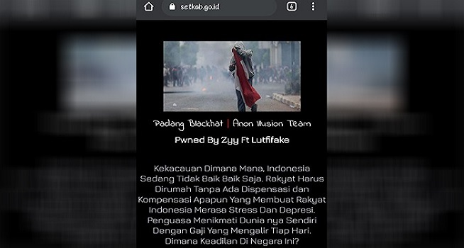 Tangkapan layar situs web Sekretariat Kabinet RI setkab.go.id pada Sabtu, 31 Juli 2021 pagi disinyalir telah diretas (Dok. portalmajalengka.pikiran-rakyat.com)